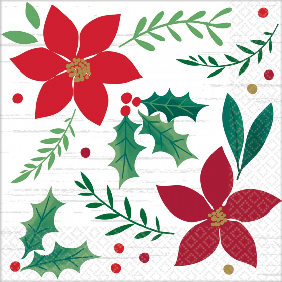 CHRISTMAS WISHES COCKTAIL NAPKINS - PACK OF 16