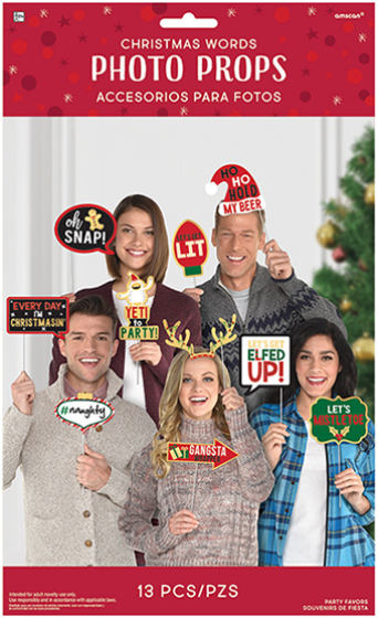 SELFIE PHOTO BOOTH PROPS - CHRISTMAS WORDS PACK OF 13