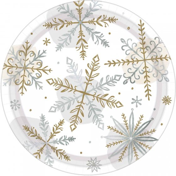 CHRISTMAS SHINING SNOWFLAKES LUNCH PLATES - PACK OF 8