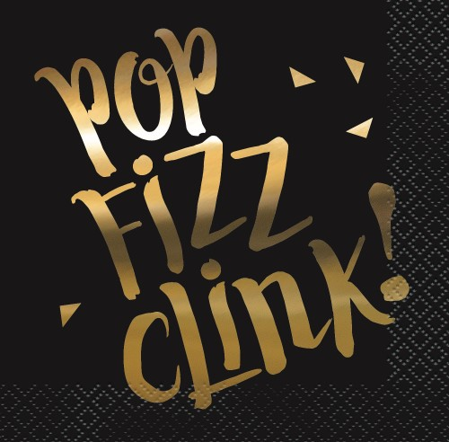 CHIC PARTY NEW YEARS 'POP, FIZZ, CLINK' COCKTAIL NAPKINS PK OF 1