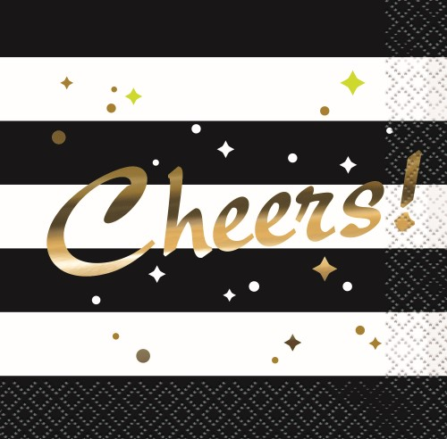 CHIC PARTY NEW YEARS \'CHEERS\' COCKTAIL NAPKINS PACK OF 16