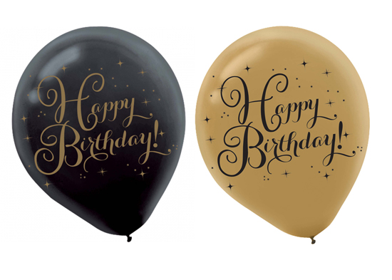 BALLOONS LATEX - GOLD & BLACK 'HAPPY BIRTHDAY' PACK 15