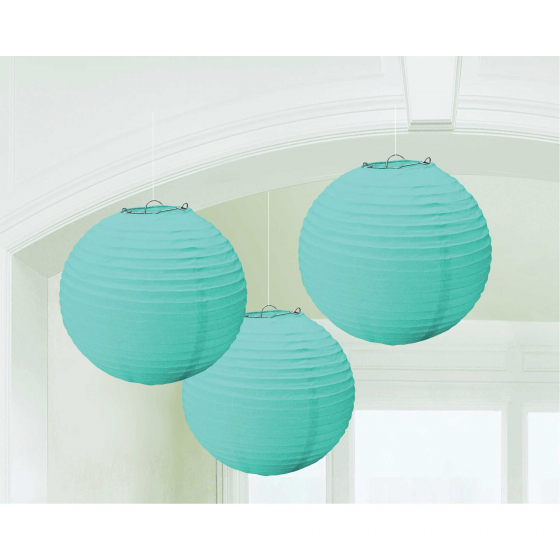 CHINESE PAPER LANTERN 24CM - ROBIN'S EGG BLUE - SET OF 3