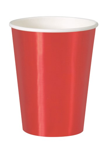 FOIL TWO TONE RED PAPER CUPS - PACK OF 8