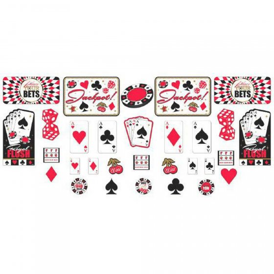 CASINO PLACE YOUR BETS CARDBOARD CUT OUTS - PACK OF 30