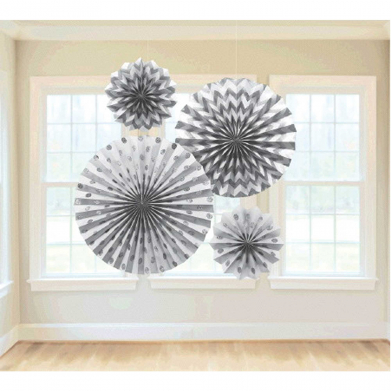 DECORATIVE FANS - SILVER GLITTER - PACK OF 4