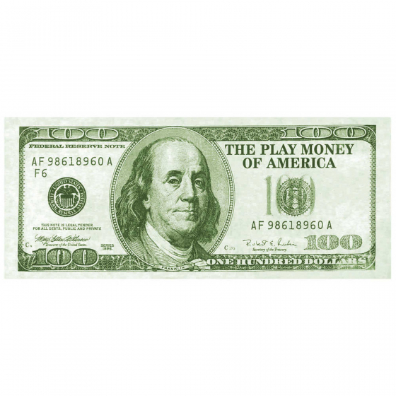 PAPER PHONEY MONEY LARGE $100 GREENBACKS - PACK OF 100
