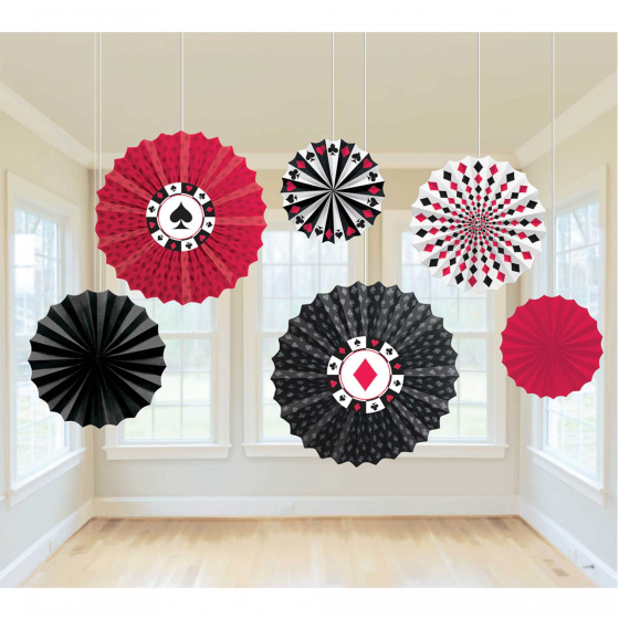 CASINO 'PLACE YOUR BETS' HANGING PAPER FANS PACK OF 6