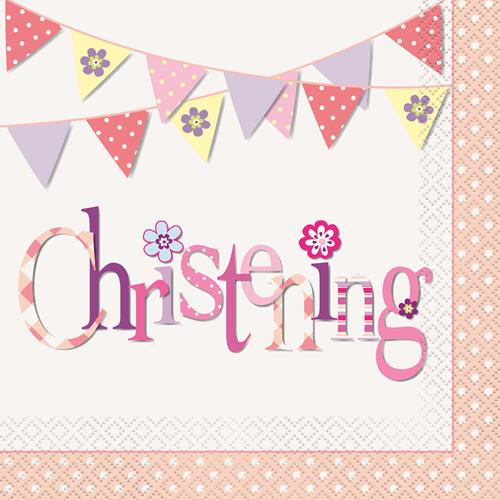 CHRISTENING PINK BUNTING LUNCH NAPKINS - PACK OF 16