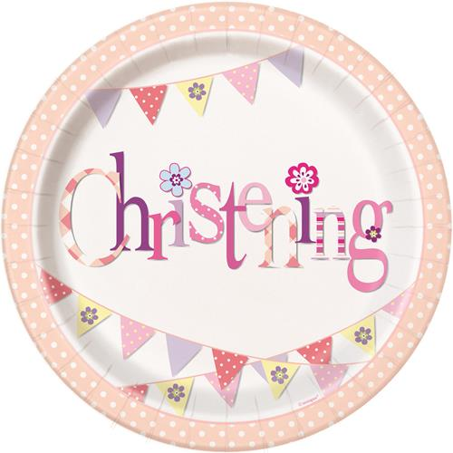 CHRISTENING PINK BUNTING PLATES - PACK OF 8