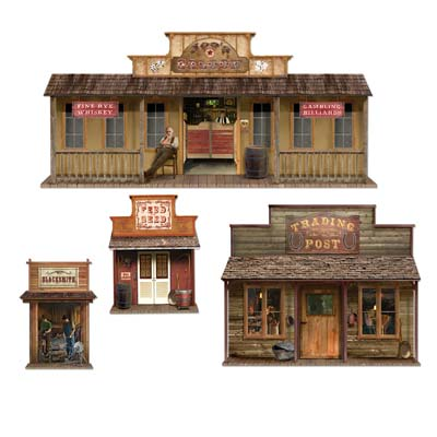 SCENE SETTER - WILD WESTERN TOWN CUTOUTS - PACK OF 4