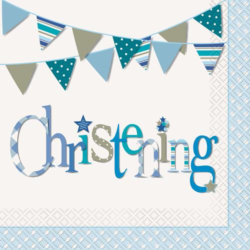 CHRISTENING BLUE BUNTING LUNCH NAPKINS - PACK OF 16