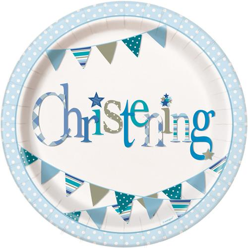 CHRISTENING BLUE BUNTING PLATES - PACK OF 8