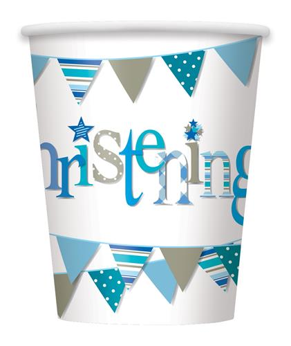 CHRISTENING BLUE BUNTING PAPER CUPS - PACK OF 8