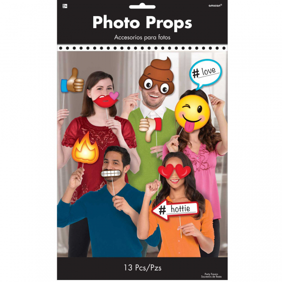 SELFIE PHOTO BOOTH PROPS - ASSORTED EMOJIS - PACK OF 13