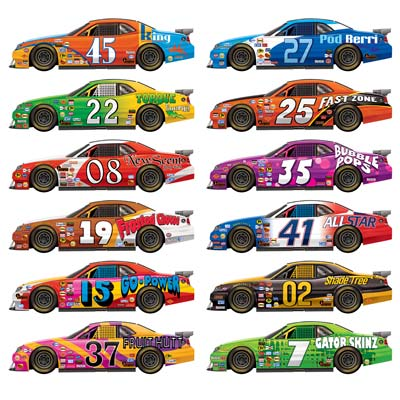 RACE CAR CUT OUTS PACK OF 12