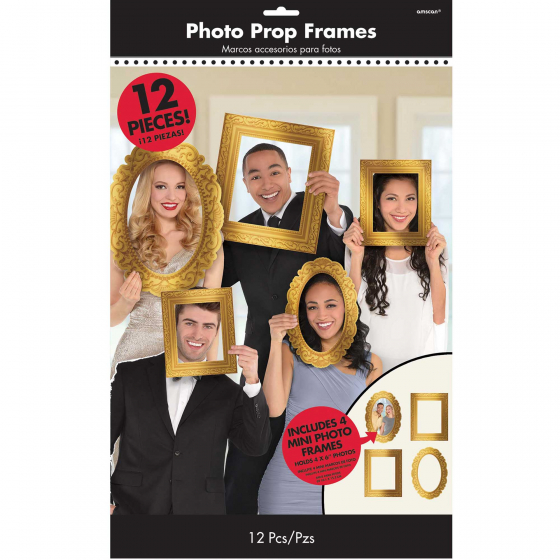 SELFIE PHOTO BOOTH PROPS - GOLD PHOTO FRAMES - PACK OF 12