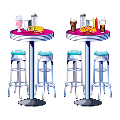 INSTA THEME - SODA SHOP TABLES & STOOLS PROPS