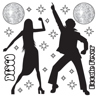 DISCO CUT OUT SILHOUETTE DECORATIONS - PACK 22