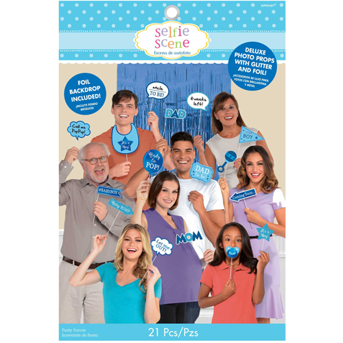 SELFIE PHOTO BOOTH PROPS - BLUE BABY SHOWER DELUXE KIT PACK 21