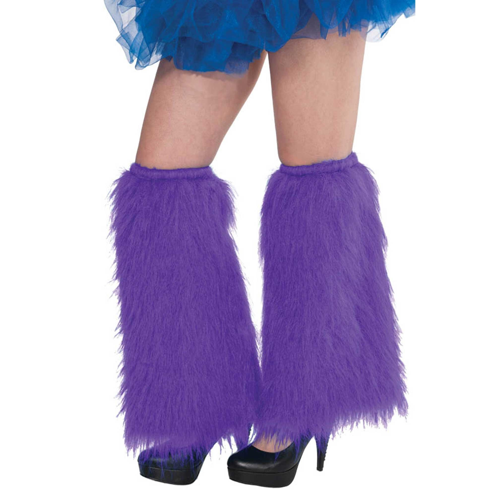 1980'S PLUSH & FLUFFY PURPLE LEG WARMERS