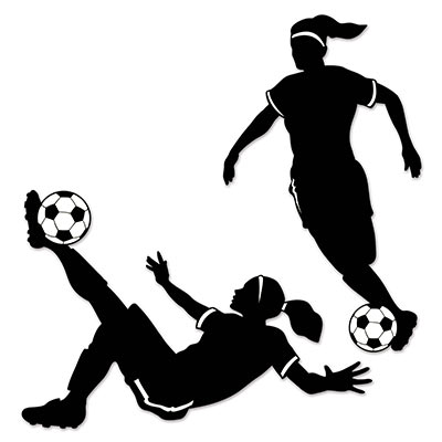 SOCCER PLAYER GIRL SILHOUETTES - PACK OF 2