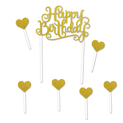 CAKE TOPPER - HAPPY BIRTHDAY GOLD OR SILVER & HEART SET