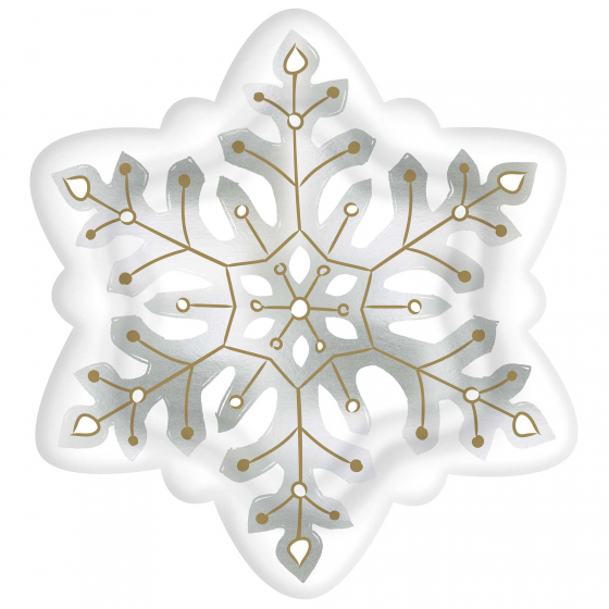 CHRISTMAS SNOWFLAKE SHAPED DINNER PLATES PACK OF 8