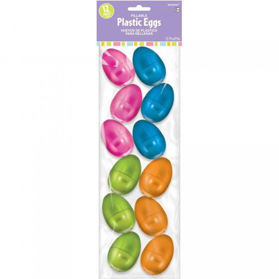 PARTY FAVOURS - FILLABLE METALLIC EASTER EGGS PACK OF 12