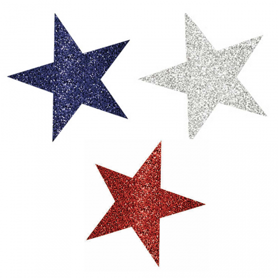 PATRIOTIC RED, WHITE & BLUE GLITTER STAR CUTOUTS PACK OF 10