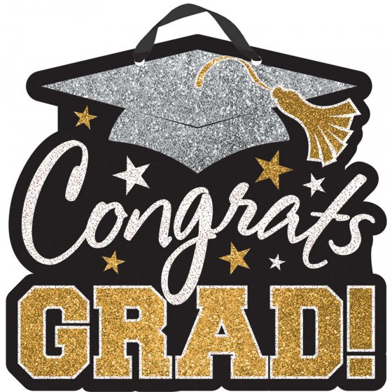 GRADUATION 'CONGRATS GRAD' MDF HANGING DOOR SIGN
