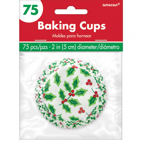 CHRISTMAS BAKING CUPS - HOLLY