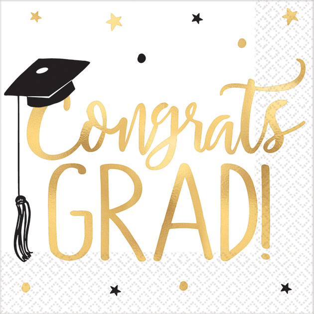 GRADUATION COCKTAIL NAPKINS - PACK OF 16