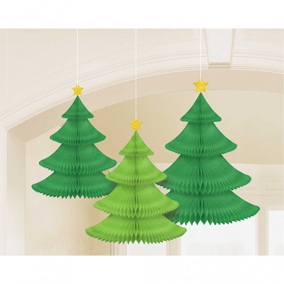 CHRISTMAS TREE HANGING HONEYCOMB DECORATIONS - PACK OF 3