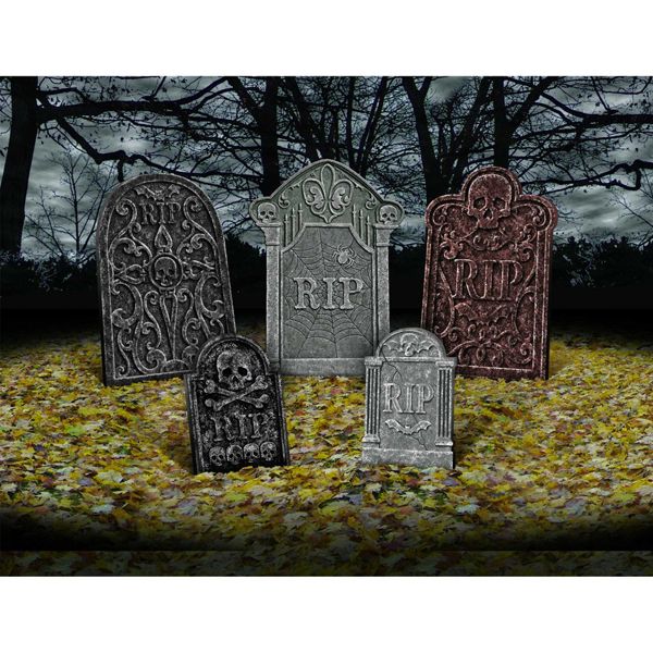 HALLOWEEN TOMBSTONES - VALUE PACK OF 5