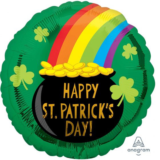 FOIL BALLOON - HAPPY ST PATRICKS DAY 'POT O GOLD'