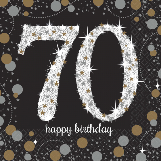 70TH BIRTHDAY NAPKINS SPARKLING BLACK & GOLD - COCKTAIL PK OF 16