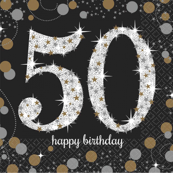 50TH BIRTHDAY NAPKINS SPARKLING BLACK & GOLD - COCKTAIL PK OF 16