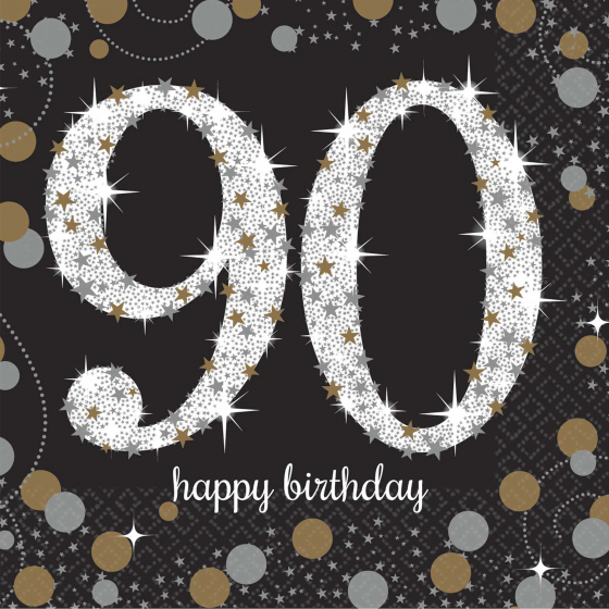 90TH BIRTHDAY NAPKINS SPARKLING CELEBRATION - COCKTAIL PK OF 16