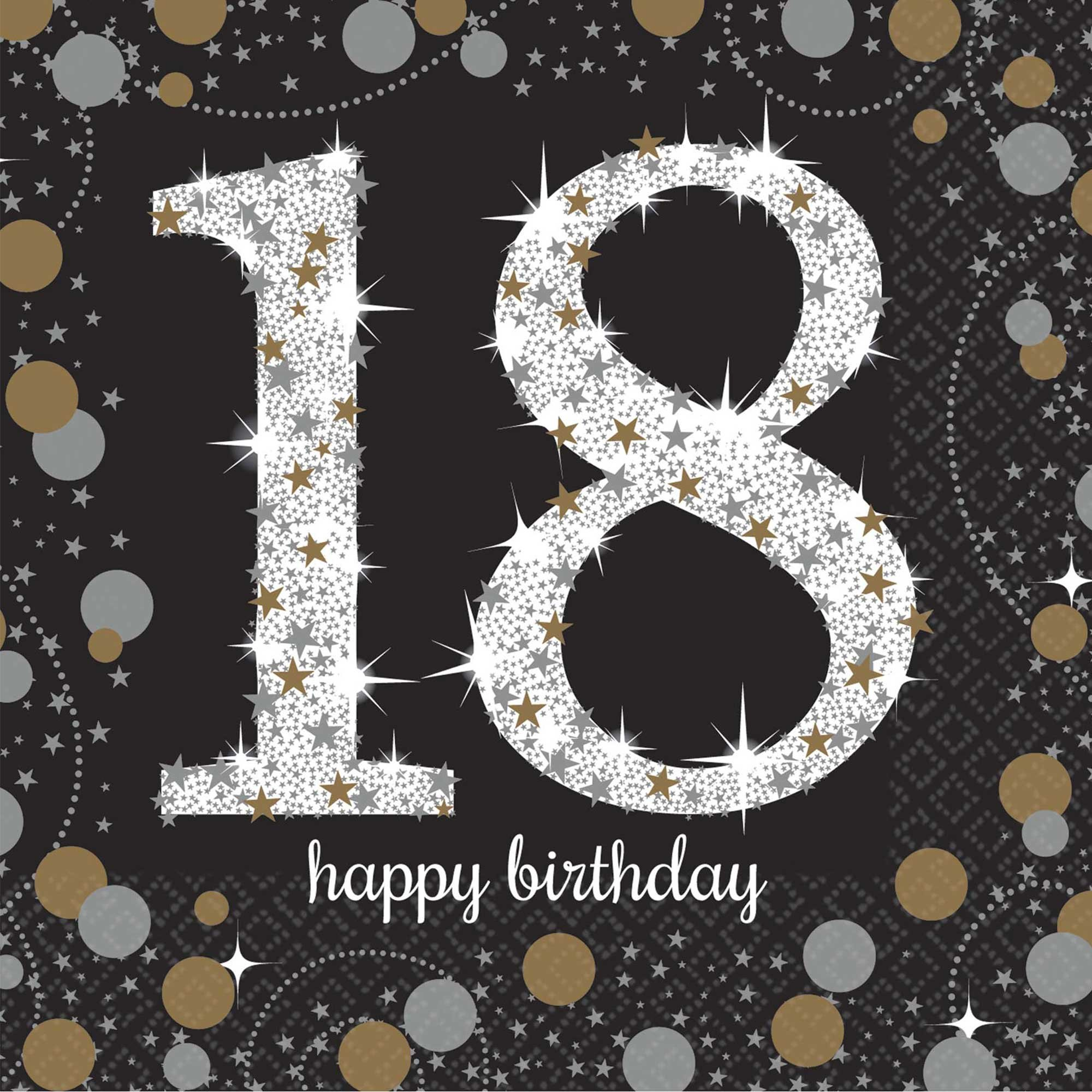 18TH BIRTHDAY NAPKINS - SPARKLING BLACK & GOLD - COCKTAIL PK 16
