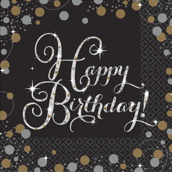 HAPPY BIRTHDAY GOLD & BLACK COCKTAIL NAPKINS - PACK OF 16