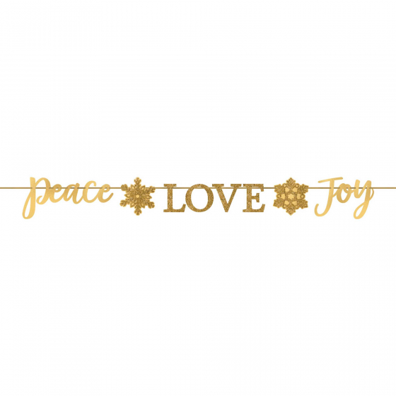 MERRY CHRISTMAS PEACE, LOVE, JOY GOLD GLITTER BANNER