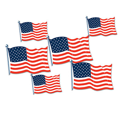AMERICAN FLAG CUT OUTS - PACK OF 6