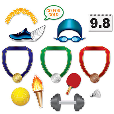 SELFIE PHOTO BOOTH PROPS - SUMMER SPORTS PACK OF 13