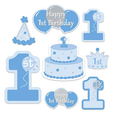 1ST BIRTHDAY BOY CUT OUTS - PACK OF 8
