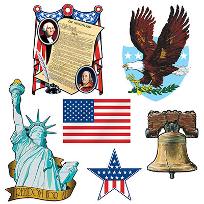 PATRIOTIC CUT OUTS - PACK OF 6