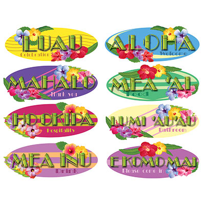 HAWAIIAN SIGN CUTOUTS PACK OF 8