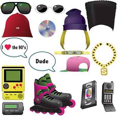 SELFIE PHOTO BOOTH PROPS - 1990'S FUN PACK 16