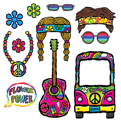SELFIE PHOTO BOOTH PROPS - 1960'S HIPPIE FUN SIGNS PACK 11