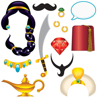 SELFIE PHOTO BOOTH PROPS - ARABIAN NIGHTS PACK OF 12